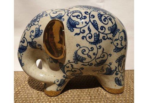 Fine Asianliving Blue And White Elephant White Golden Ears Porcelain Small