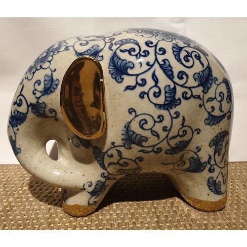 Blue And White Elephant White Golden Ears Porcelain Small