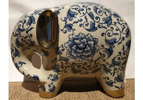 Fine Asianliving Blue And White Elephant with Golden Ears Porcelain Large