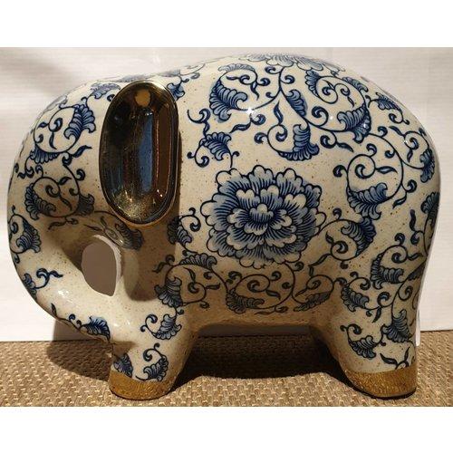 Blue And White Elephant White Golden Ears Porcelain Large