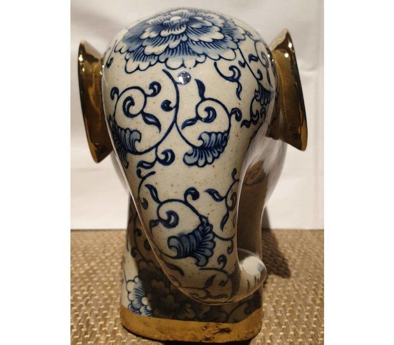 Porcelain Elephant Blue Golden Ears W27xD13xH20cm