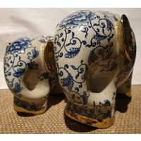 Olifant Blauw en Wit Met Gouden Oortjes Porselein Groot