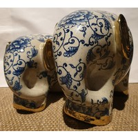 Porselein Olifant Blauw Gouden Oortjes B27xD13xH20cm