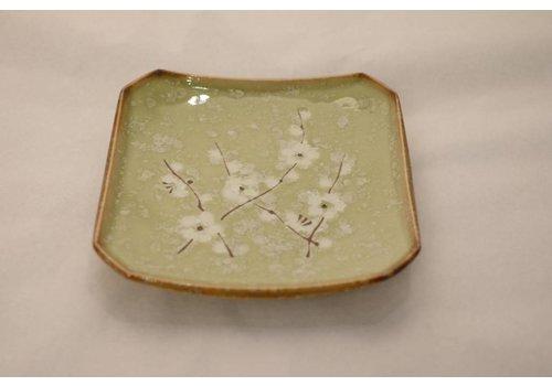 Fine Asianliving Japans Servies Soshun Glossy Cosmos Green - Bord 13x13x2cm