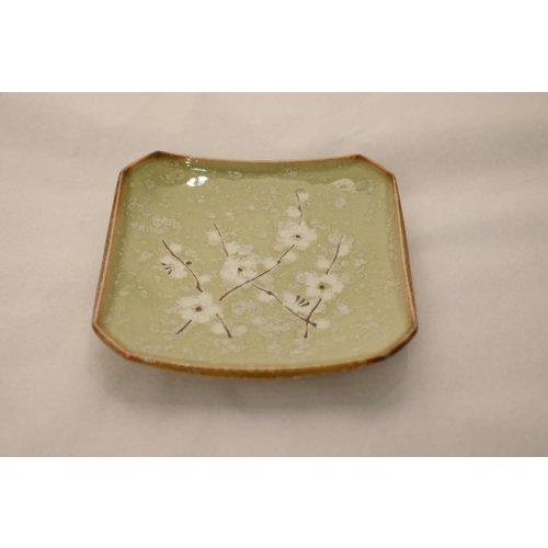 Japanese Tableware Soshun Glossy Cosmos Green - Plate 13x13x2cm