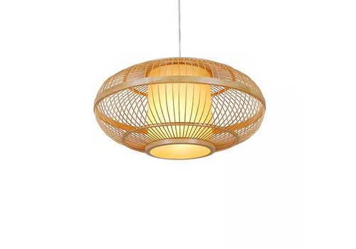 Fine Asianliving Bamboe Handgevlochten Hanglamp Naturel Ø 60