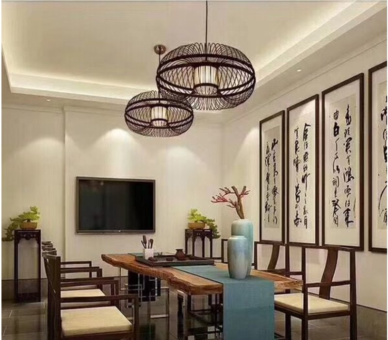 Fine Asianliving Deckenleuchte Pendelleuchte Beleuchtung Bambus Lampenschirm Handgefertigt - Morris