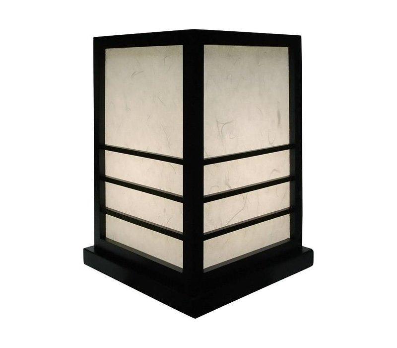 Japanse Lamp Shoji RijstPapier Hout Miyazaki Zwart B20xD20xH28cm