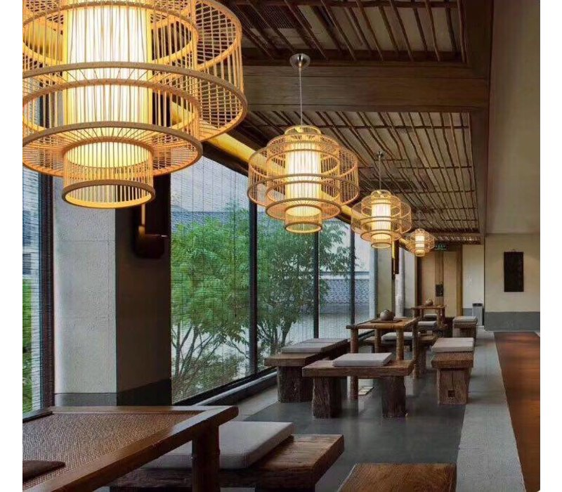 PREORDER 7/12/2020 Fine Asianliving Deckenleuchte Pendelleuchte Beleuchtung Bambus Lampenschirm Handgefertigt - Leona