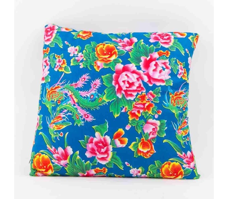 Chinese Cushion Cover 40x40cm Traditional Dongbei Flowers Blue without Filling
