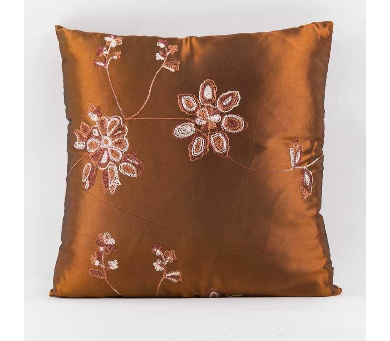 Chinese Cushion Cover Silk Embroidered Flowers Brown 40x40cm without Filling