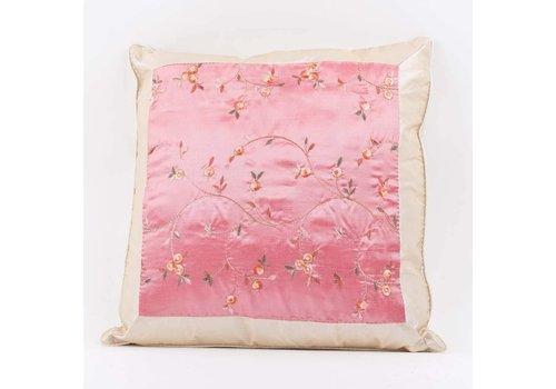 Fine Asianliving Housse de Coussin Chinoise en Soie Rose Fleurs Brodées 40x40cm