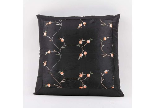 Fine Asianliving Chinese Cushion Silk Flowers Black 40x40cm No Filling