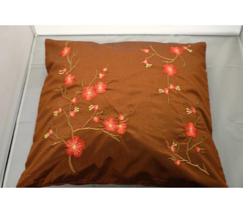 Fine Asianliving Chinese Cushion Sakura Cherryblossoms Brown 40x40cm Zonder Cushion