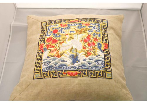 Fine Asianliving Fine Asianliving Chinese Cushion White Plateuursel Beige Crane 40x40cm Zonder Cushion