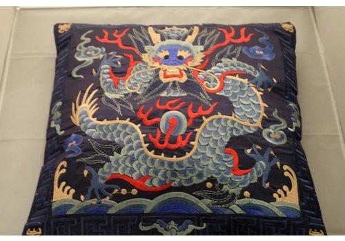 Fine Asianliving Chinese Kussenhoes 40x40cm Handgeborduurd Navy Draak Zonder Vulling