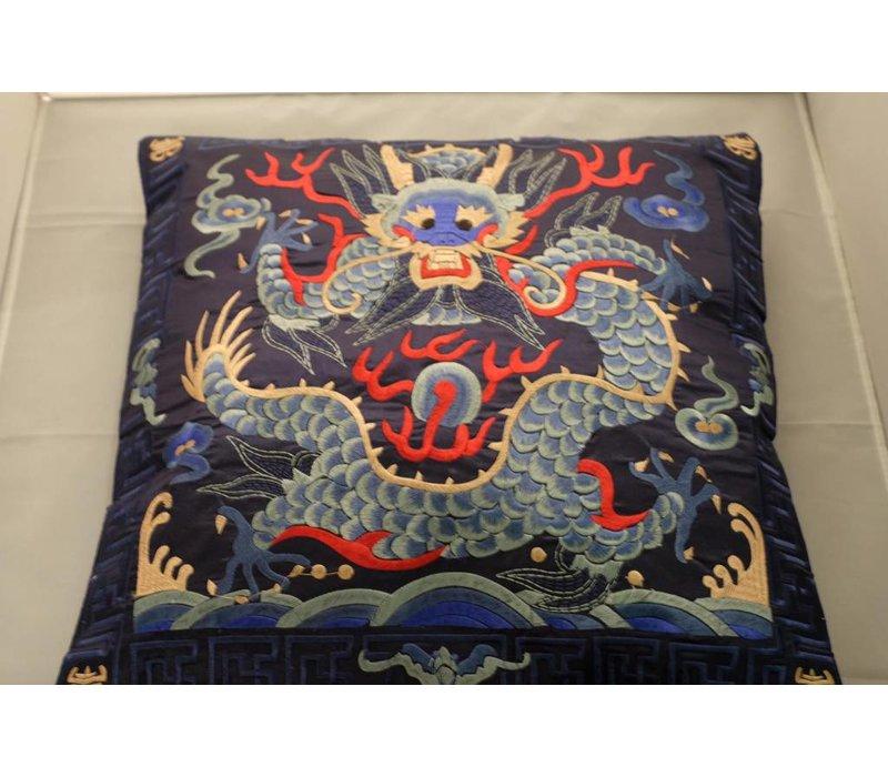 Chinese Kussen Volledig Geborduurd Donkerblauw Draak 40x40cm Zonder Kussen