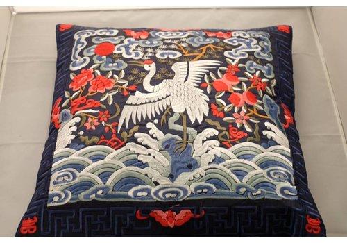 Fine Asianliving Chinese Kussenhoes 40x40cm Handgeborduurd Navy Kraanvogels Zonder Vulling