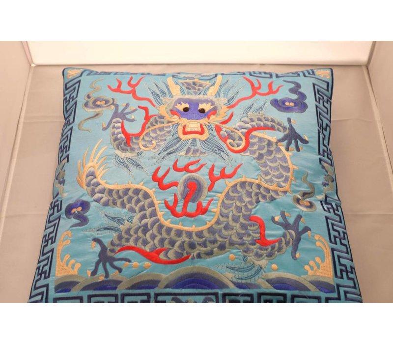 Chinese Kussen Volledig Geborduurd Lichtblauw Draak 40x40cm Zonder Kussen