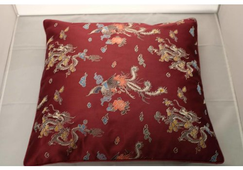 Fine Asianliving Chinese Cushion Cover Burgundy Red Dragon 40x40cm No Cotton Filling