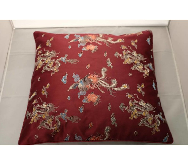 Chinese Cushion Cover Burgundy Red Dragon 40x40cm No Cotton Filling