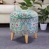Fine Asianliving Poef Voetensteun Opbergbox Blauw Details S