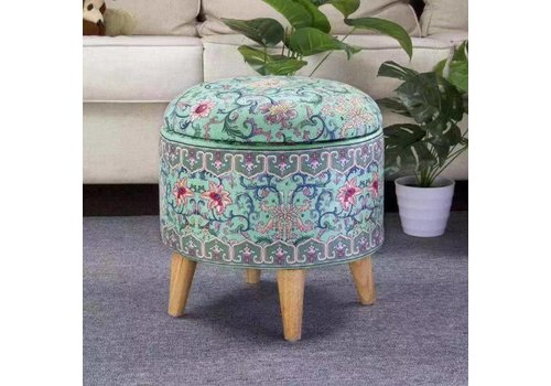 Fine Asianliving Fine Asianliving Ottoman Pouffe Storage box Footstool Blue Ø 39cm