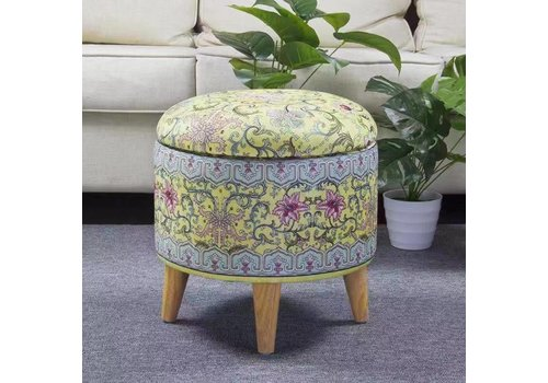Fine Asianliving Fine Asianliving Ottoman Pouffe Storage box Footstool Yellow Ø 39cm