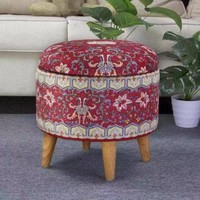 Ottoman Pouf Storage Box Footstool Upholstered Removable Lid Red Ø 39cm