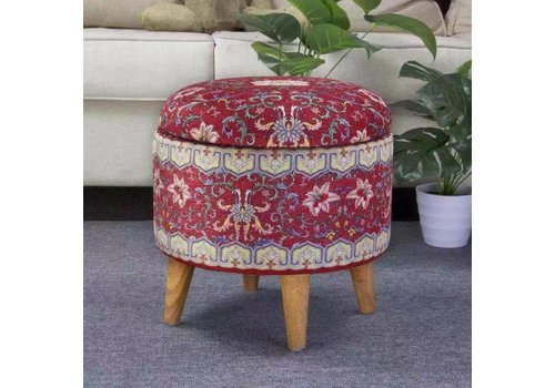 Fine Asianliving Fine Asianliving Ottoman Pouffe Storage box Footstool Red Ø 39cm