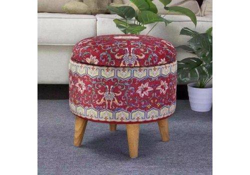 Fine Asianliving Poef Hocker Opbergbox Rood Details Ø 39 cm