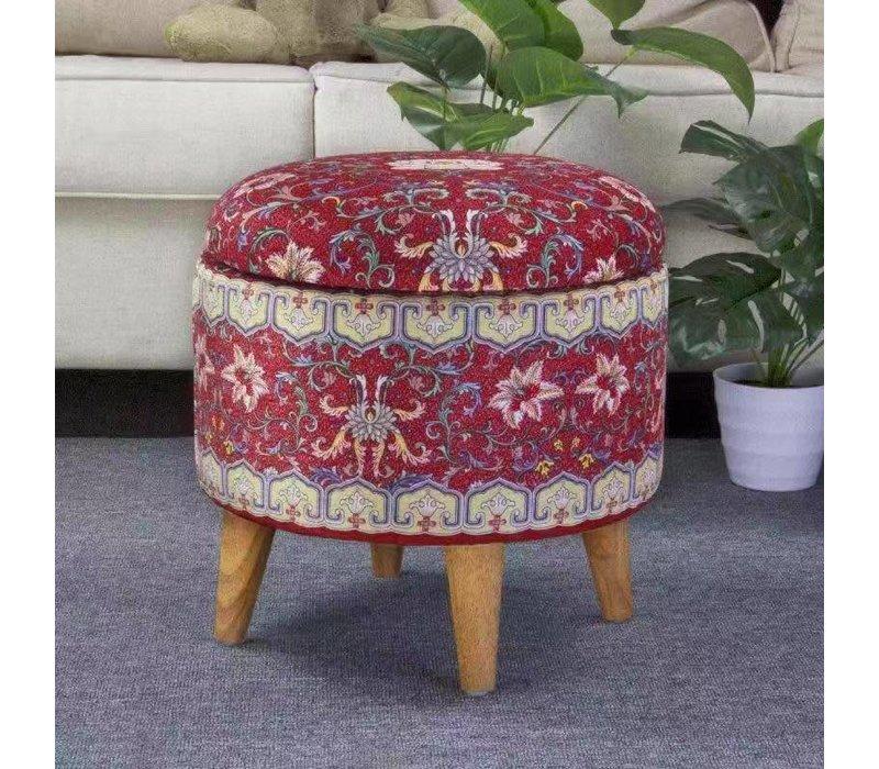 Pouf Ottoman Fine Asianliving Boîte de rangement Repose-pieds Rouge Ø 39cm
