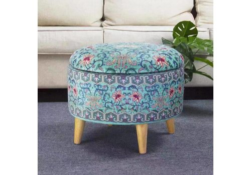 Fine Asianliving Fine Asianliving Ottoman Pouffe Storage box Footstool Blue Ø 49cm