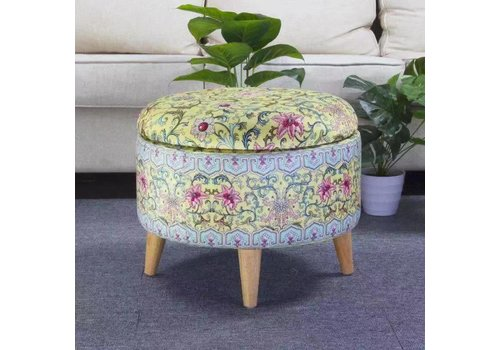 Fine Asianliving Fine Asianliving Ottoman Pouffe Storage Box Footstool Upholstered Removable Lid Yellow Ø 49cm