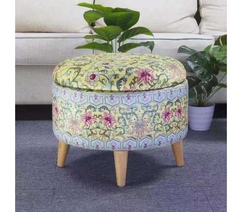 Fine Asianliving Ottoman Pouffe Storage box Footstool Yellow Ø 49cm
