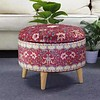 Fine Asianliving Ottoman Pouf Storage Box Footstool Upholstered Removable Lid Red D49cm