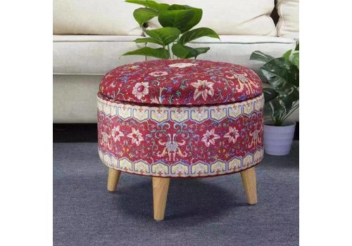 Fine Asianliving Ottoman Pouf Storage Box Footstool Upholstered Removable Lid Red Ø 49cm