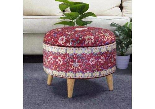 Fine Asianliving Pouf Contenitore Ottomano Poggiapiedi Corpertura Removibile Rosso Ø 49cm