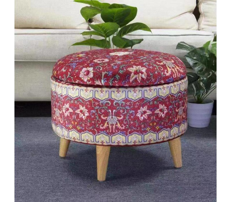 Fine Asianliving Ottoman Pouffe Storage box Footstool Red Ø 49 cm