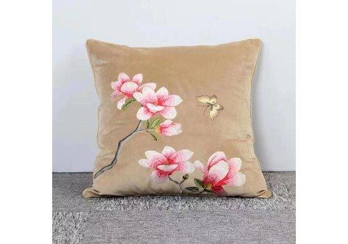Fine Asianliving Fine Asianliving Kussen Handgeborduurd Velvet Beige Bloesems 50x50cm