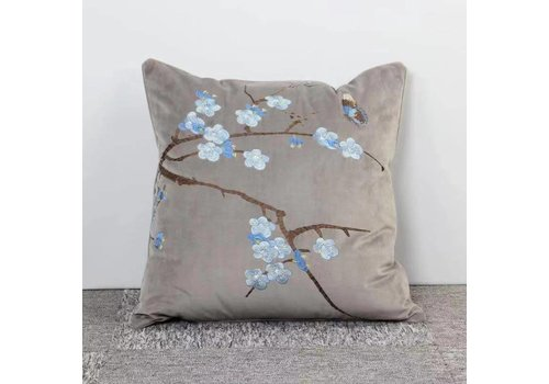 Fine Asianliving Fine Asianliving Cushion Throw Pillow Hand Embroidered Velvet Grey Blossoms 50x50cm