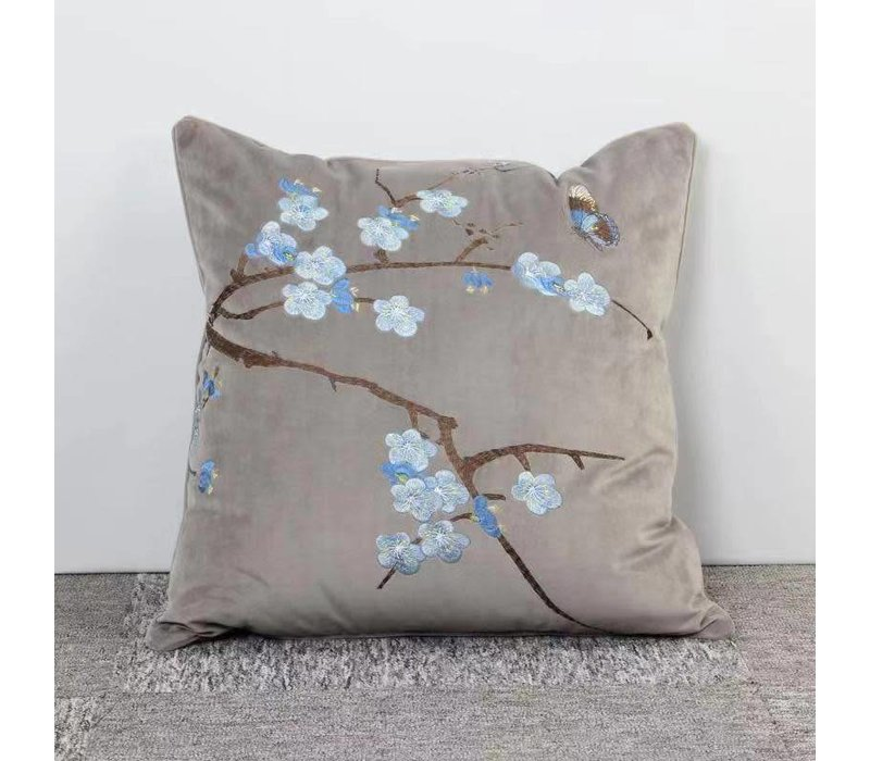 Fine Asianliving Grey Cushion White Blue Flowers
