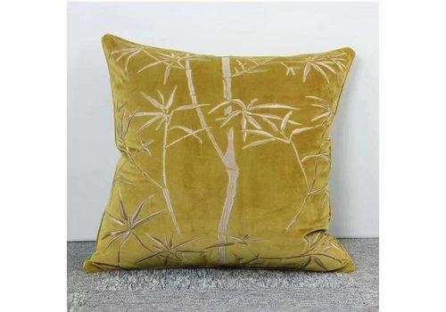 Fine Asianliving Fine Asianliving Kussen Handgeborduurd Velvet Khaki Bamboe 50x50cm