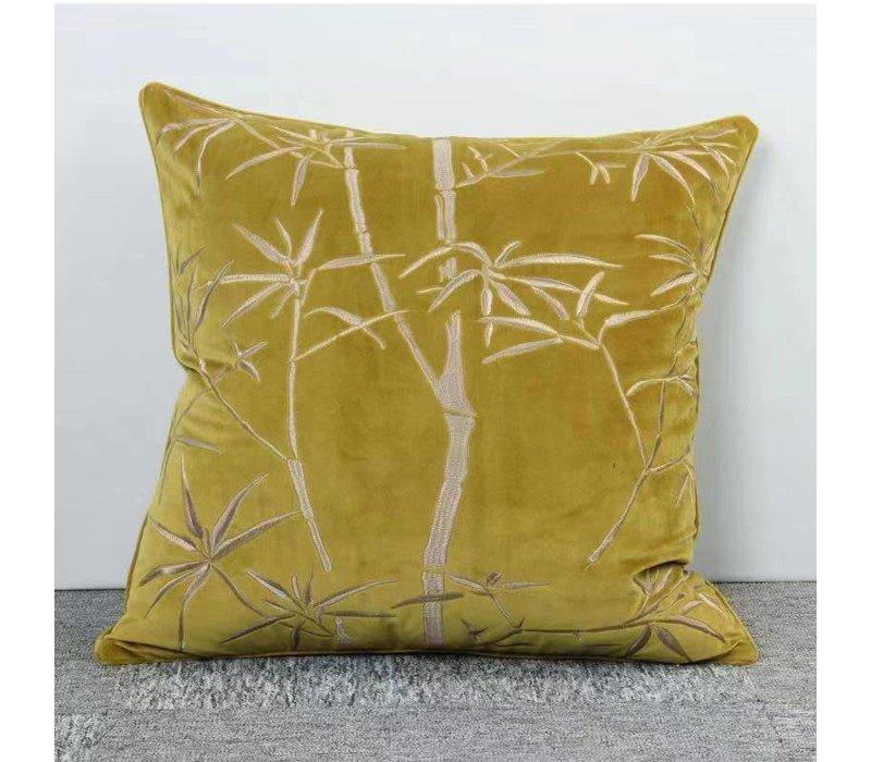 Groen Kussen Met Bamboe Print