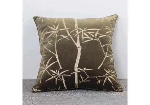 Fine Asianliving Fine Asianliving Donker Groen Kussen Met Bamboe Print