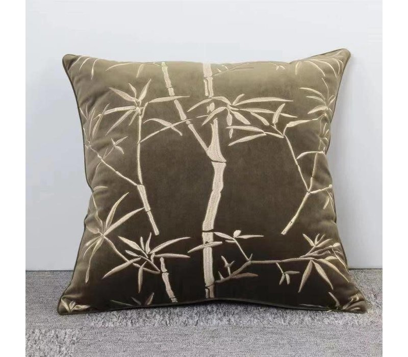 Donker Groen Kussen Met Bamboe Print