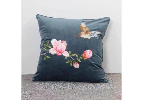 Fine Asianliving Fine Asianliving Blue Cushion White Flowers
