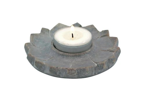 Fine Asianliving Lotus Candle and Incense Holder Soapstone Natural
