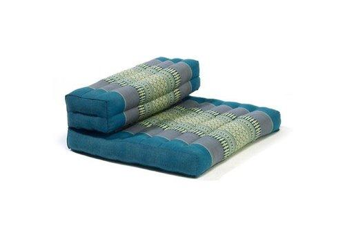 Fine Asianliving Fine Asianliving Thai Cushion Yogaseat 50x75x12cm Foldable Meditation Mat Pillow Block Kapok Blue