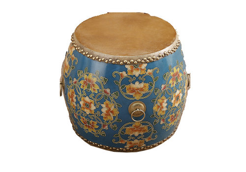 Fine Asianliving Chinese Drum Sidetable Handpainted Flowers Blue